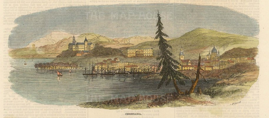 """Illustrated London News: Oslo, Norway. 1857. A hand coloured original antique wood engraving. 7"""" x 5"""". [SCANp341]"""