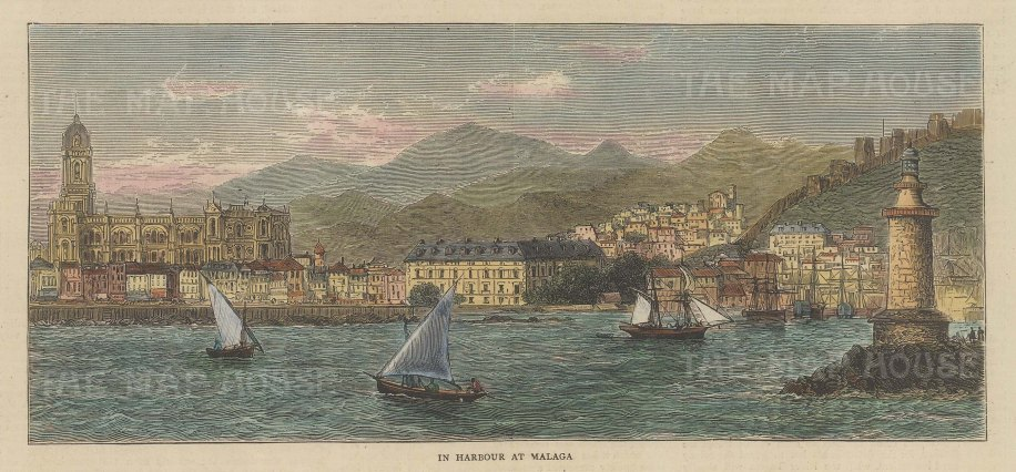 "Graphic Magazine: Malaga. 1879. A hand coloured original antique wood engraving. 7"" x 4"". [SPp1102]"