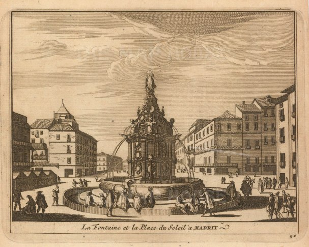 "Van der Aa: Plaza Puerta del Sol, Madrid. 1706. An original antique copper engraving. 5"" x 4"". [SPp1103]"