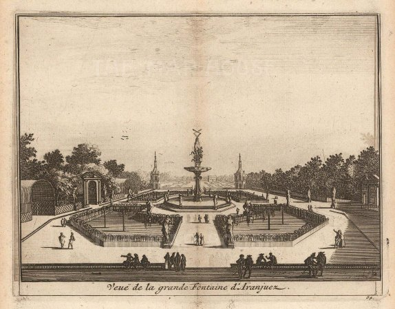 "Van der Aa: Grande Fountain, Aranjuez. 1706. An original antique copper engraving. 5"" x 4"". [SPp1107]"
