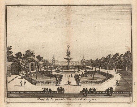 "Van der Aa: Grande Fountain, Aranjuez. 1706. An original antique copper engraving. 5"" x 4"". [SPp1107]"
