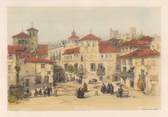 "Vivian: Plaza del Campillo, Granada. 1838. An original colour antique lithograph. 15"" x 10"". [SPp853]"