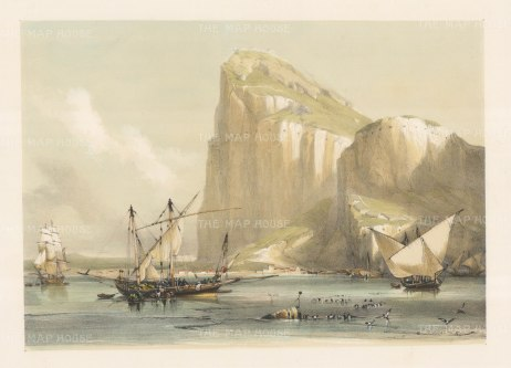 "Roberts: Gibraltar. 1837. A hand coloured original antique lithograph. 17"" x 13"". [SPp910]"