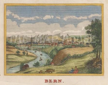 "Anonymous: Bern. c1820. A hand coloured original antique copper engraving. 4"" x 3"". [SWIp747]"