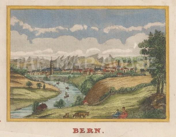 "Anonymous: Bern, Switzerland. c1820. A hand coloured original antique copper engraving. 4"" x 3"". [SWIp747]"