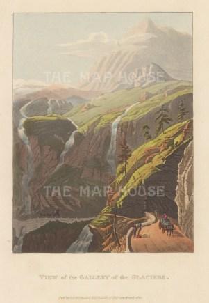 """Ackermann: Simplon. 1820. An original colour antique aquatint. 6"""" x 9"""". [SWIp756]"""