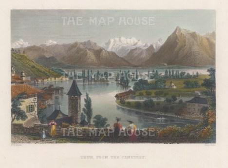 "Bartlett: Lake of Thun, Switzerland. 1836. A hand coloured original antique steel engraving. 8"" x 6"". [SWIp764]"
