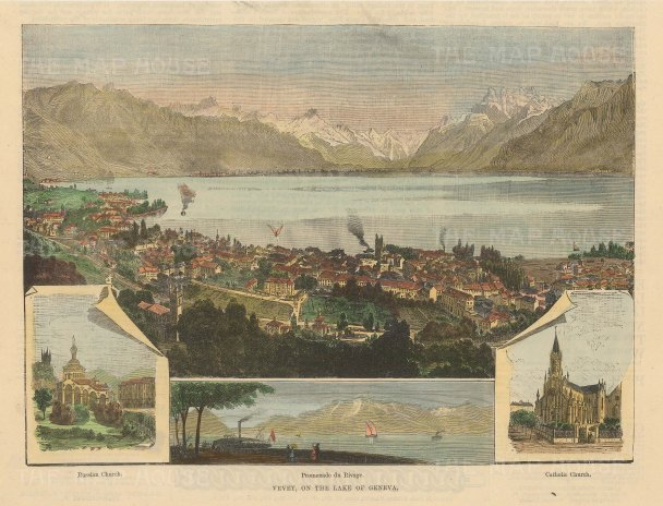 Vevey: Four views. A panorama of the city, view of the Promenande de Rivage, and views of St Barbara's Orthodox church and Notre Dame Catholic church.
