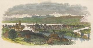 "Illustrated London News: Zurich, Switzerland. 1847. A hand coloured original antique wood engraving. 9"" x 3"". [SWIp794]"