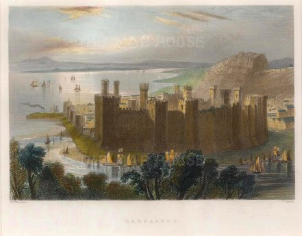"Bartlett: Caernarvon Castle. 1841. A hand coloured original antique steel engraving. 7"" x 5"". [WCTSp374]"