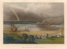 "Radclyffe: Mumbles Lighthouse. 1836. A hand coloured original antique steel engraving. 5"" x 4"". [WCTSp473]"