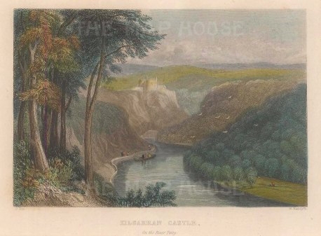 "Radclyffe: Kilgarran Castle. 1836. A hand coloured original antique steel engraving. 5"" x 4"". [WCTSp478]"