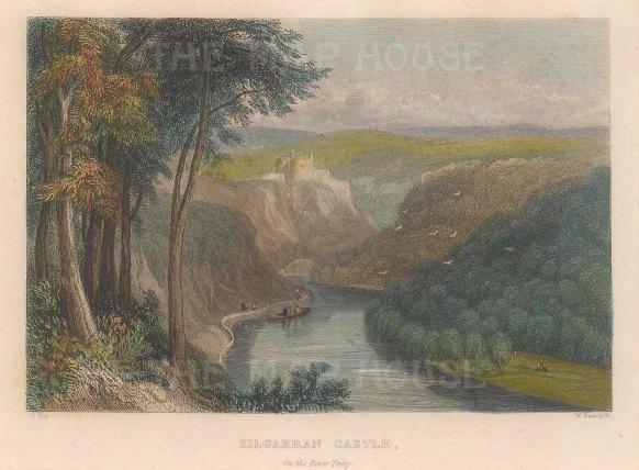 "Radclyffe: Kilgarran Castle. 1836. A hand coloured original antique steel engraving. 5"" x 4"". [WCTSp478]"