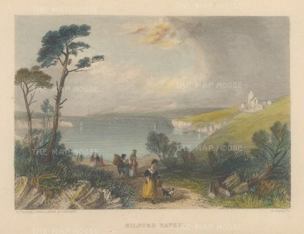"""Roscoe: Milford Haven. 1836. A hand coloured original antique steel engraving. 5"""" x 4"""". [WCTSp481]"""