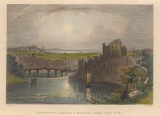 "Roscoe: Chepstow Castle. 1836. A hand coloured original antique steel engraving. 5"" x 4"". [WCTSp483]"