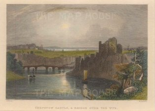 "Roscoe: Chepstow Castle. 1836. A hand coloured original antique steel engraving. 5"" x 4"". [WCTSp483]"