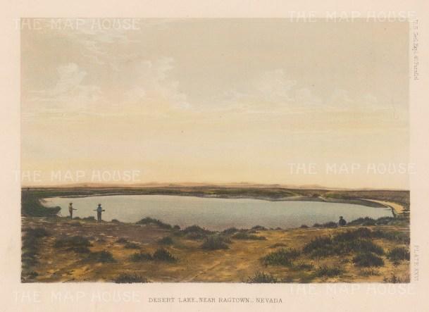 "U.S. Geo Survey: Desert Lake, Nevada. 1878. An original colour antique lithograph. 9"" x 7"". [USAp3040]"