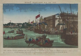 Manhattan: View in the harbour. With text in French remarking on the English capture of the city and the change of name from New Amsterdam.