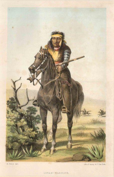 """Sarony & Co.: Lipan Warrior. c1840. An original colour antique lithograph. 6"""" x 9"""". [USAp4156]"""