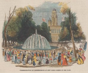 """Illustrated London News: Commemoration of Independence, New York City. 1844. A hand coloured original antique wood engraving. 6"""" x 5"""". [USAp4413]"""