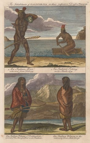 "Harris: Native Californians. 1748. A hand coloured original antique copper engraving. 8"" x 12"". [USAp4475]"