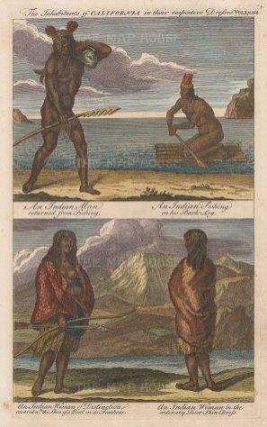 "Harris: Native Californians. 1748. A hand coloured antique copper engraving. 8"" x 12"". [USAp4475]"