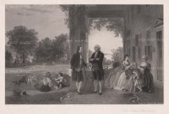 Mount Vernon with Washington's family. After T. P. Rossiter & L. R. Mignot, engraved by Thomas Oldham Barlow. George Washington is based on a bust by Jean Antoine Houdon.