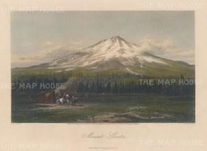 "Picturesque America: Mount Shasta. 1872. A hand coloured original antique steel engraving. 11"" x 8"". [USAp4527]"