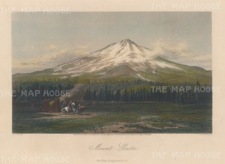 "Picturesque America: Mount Shasta. 1872. A hand coloured original antique steel engraving. 11"" x 8"". [USAp4527]"