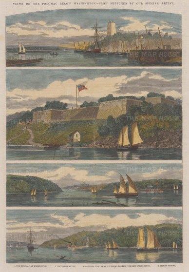 Views on the Potomac: Fort Washington, Mount Vernon, towards Washington and on the Potomac.