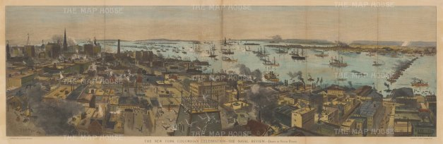 New York City: Panorama from Brooklyn across the East River: Showing the docks and Naval Review to celebrate the quatercentenary of Columbus's landing in America.