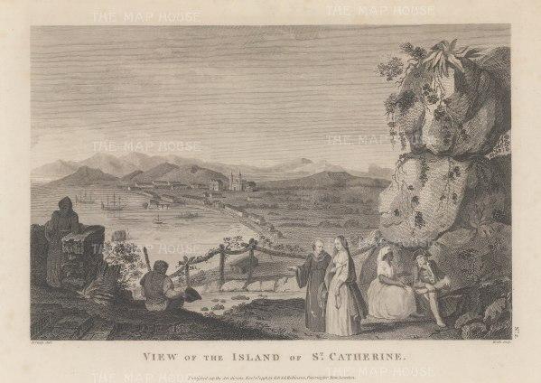 St Catherine's Island (Catalina): Originally discovered in 1542, it was rediscovered in 1602 on St Catherine's day by Sebastian Vizcaino, and claimed for the Spanish.