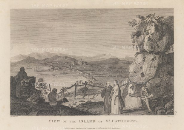 St Catherine's Island (Catalina): Originally discovered in 1542, it was rediscovered in 1602 on St Catherine's day by Sebastian Vizcaino, and claimed for the Spanish.
