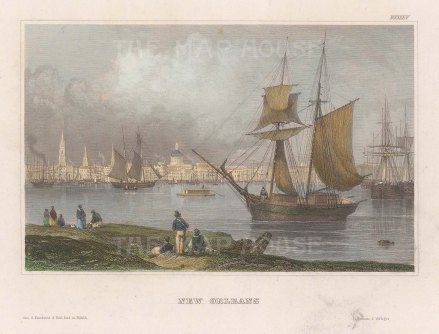 "Meyer: New Orleans, Louisiana. c1845. A hand coloured original antique steel engraving. 6"" x 4"". [USAp4819]"