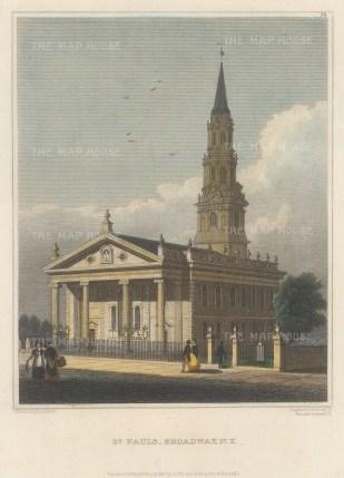 "Hinton: St Paul's Broadway, New York City. 1831. A hand-coloured original antique steel engraving. 4"" x 6"". [USAp4833]"