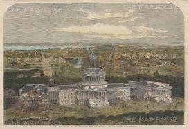 The Capitol: Bird's Eye view towards the Patuxant river with the Capitol under construction.