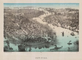 Bird's Eye view of Lower Manhattan and Brooklyn: Off Battery Park is seen Castle Garden, the former fort then entertainment hall.