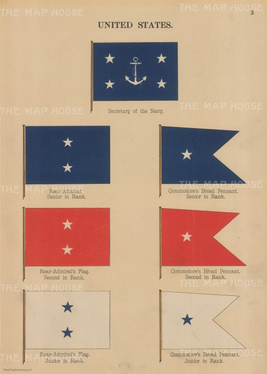 Flags: Secretary of Navy and other ranks pennants.
