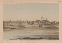 """U.S.P.R.R. Exp.: Fort Smith, Arkansas. 1857. An original colour antique lithograph. 10"""" x 7"""".[USAp4925]"""
