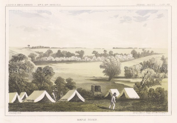 "U.S.P.R.R. Exp.: Maple River, North Dakota. 1857. An original colour antique lithograph. 10"" x 7"". [USAp4928]"