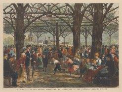 "Graphic Magazine: Central Park, New York City. 1877. A hand coloured original antique wood engraving. 13"" x 9"" [USAp4965]"