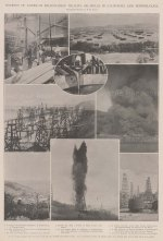 Oil: Source of American Millionaires' wealth. Eight vignettes of Oil wells in California and Pennsylvania.