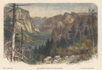 "Lovett: Yosemite. 1891. A hand coloured original antique wood engraving. 8"" x 5"". [USAp4976]"