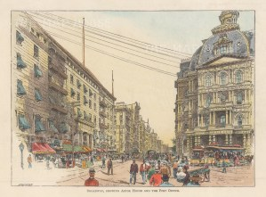 """Lovett: Broadway and Vesey Streets, New York City. 1891. A hand coloured original antique wood engraving. 8"""" x 5"""". [USAp4977]"""