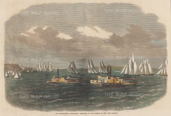 Narrows of New York Harbour: Return of the International Yacht Match.