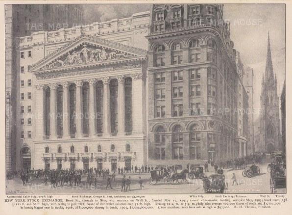 "King: New York Stock Exchange. 1905. A n original antique photo-lithograph. 9"" x 7"". [USAp4995]"
