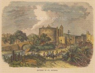 "Brown: San Antonio, Texas. c1885. A hand coloured original antique wood engraving. 6"" x 4"". [USAp4997]"