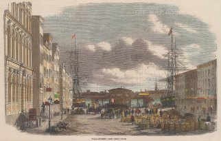 """Illustrated London News: Wall Street, New York City. 1859. A hand coloured original antique wood engraving. 9"""" x 6"""". [USAp4998]"""