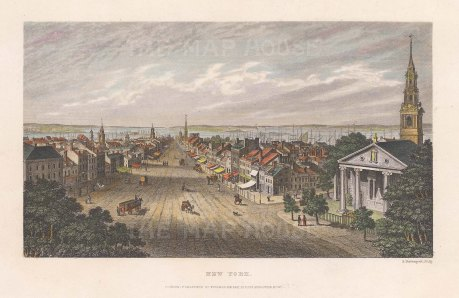 """Kelly: New York City. 1840. A hand-coloured original antique steel engraving. 7"""" x 4"""". [USAp5015]"""
