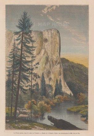 "Garnier: Lost Arrow Spire, Yosemite. 1876. A hand coloured original antique wood engraving. 6"" x 9"". [USAp5019]"